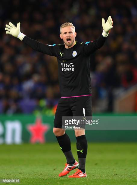 Kasper Schmeichel of Leicester City reacts during the UEFA Champions League Quarter Final second leg match between Leicester City and Club Atletico...