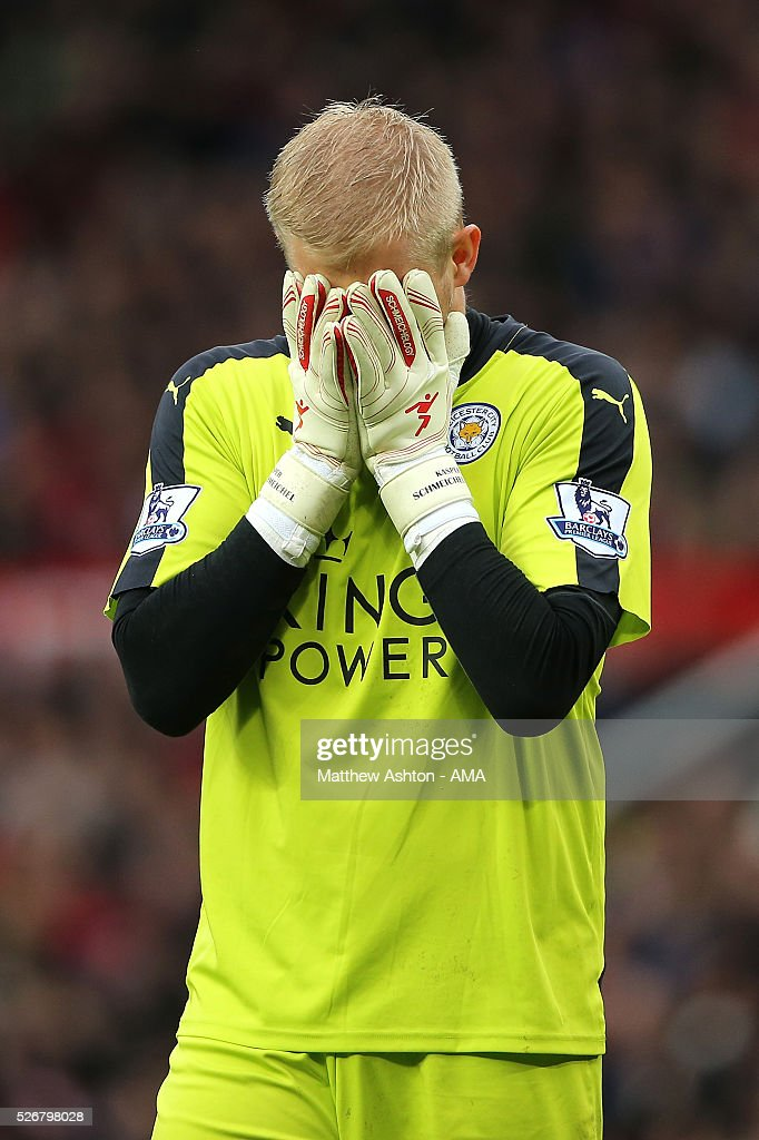 <a gi-track='captionPersonalityLinkClicked' href=/galleries/search?phrase=Kasper+Schmeichel&family=editorial&specificpeople=2309352 ng-click='$event.stopPropagation()'>Kasper Schmeichel</a> of Leicester City reacts to a missed chance for his team during the Barclays Premier League match between Manchester United and Leicester City at Old Trafford on May 1, 2016 in Manchester, United Kingdom.