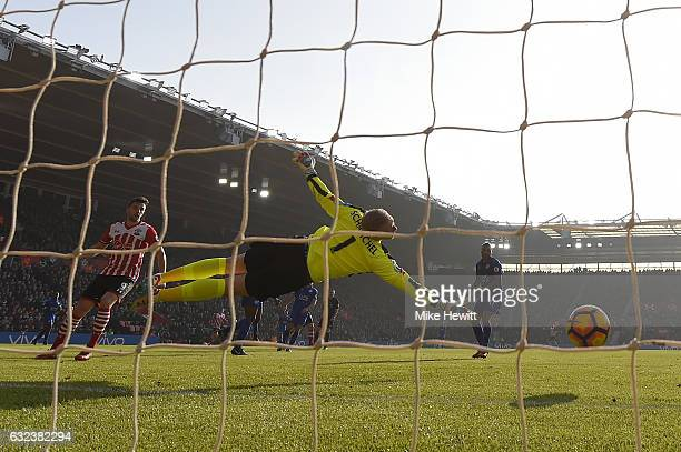 Kasper Schmeichel of Leicester fails to stop a shot from James WardProwse of Southampton during the Premier League match between Southampton and...