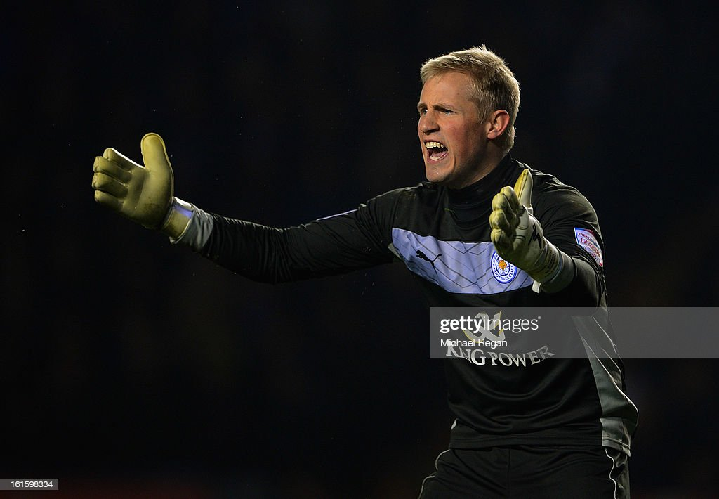 <a gi-track='captionPersonalityLinkClicked' href=/galleries/search?phrase=Kasper+Schmeichel&family=editorial&specificpeople=2309352 ng-click='$event.stopPropagation()'>Kasper Schmeichel</a> of Leicester gestures during the FA Cup Fourth Round Replay between Leicester City and Huddersfield Town at The King Power Stadium on February 12, 2013 in Leicester, England.