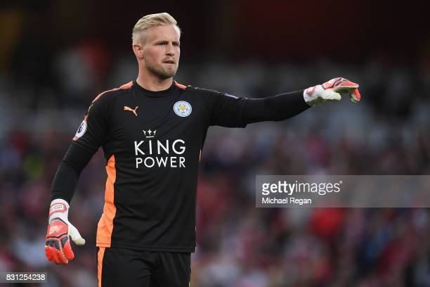 Kasper Schmeichel of Leicester in action during the Premier League match between Arsenal and Leicester City at Emirates Stadium on August 11 2017 in...