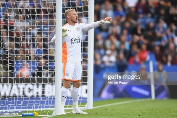 Kasper Schmeichel of Leicester in action during the Premier League match between Leicester City and Brighton and Hove Albion at The King Power...