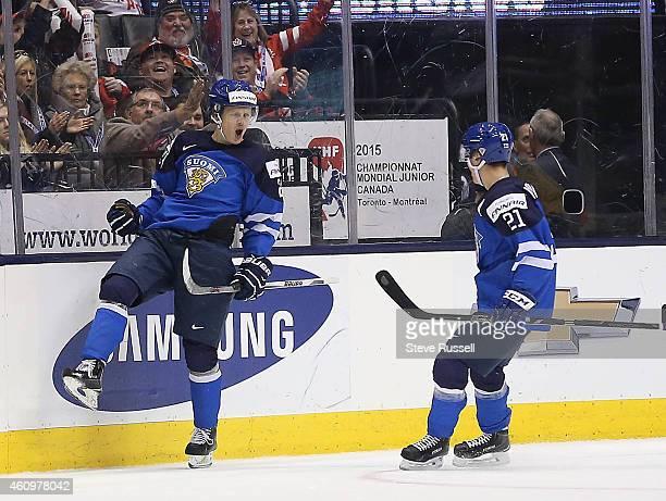 TORONTO ON JANUARY 2 Kasperi Kapanen celebrates a goal as Team Sweden plays Finland in the quarter final round of the IIHF World Junior Hockey...