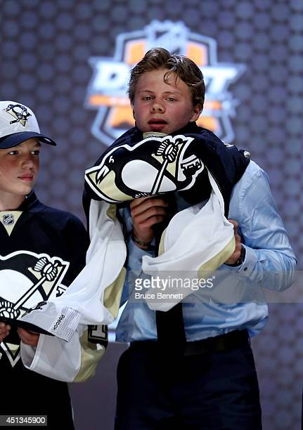 Kasperi Kapanen is selected twentysecond overall by the Pittsburgh Penguins in the first round of the 2014 NHL Draft at the Wells Fargo Center on...