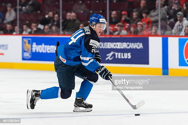 Kasperi Kapanen of Team Finland carries the puck in a preliminary round game during the 2015 IIHF World Junior Hockey Championships against Team...