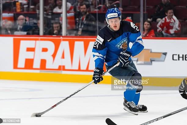Kasperi Kapanen of Team Finland looks to shoot the puck in a preliminary round game during the 2015 IIHF World Junior Hockey Championships against...