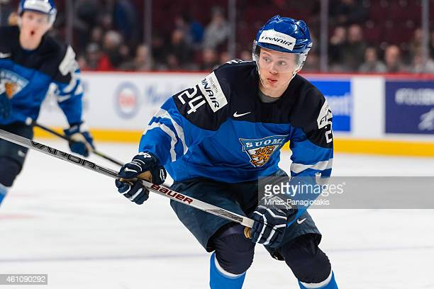 Kasperi Kapanen of Team Finland skates in a preliminary round game during the 2015 IIHF World Junior Hockey Championships against Team Germany at the...
