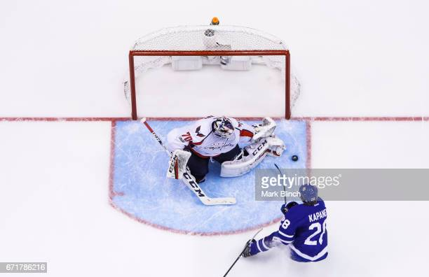 Kasperi Kapanen of the Toronto Maple Leafs goes to the net against Braden Holtby of the Washington Capitals during the second period in Game Four of...
