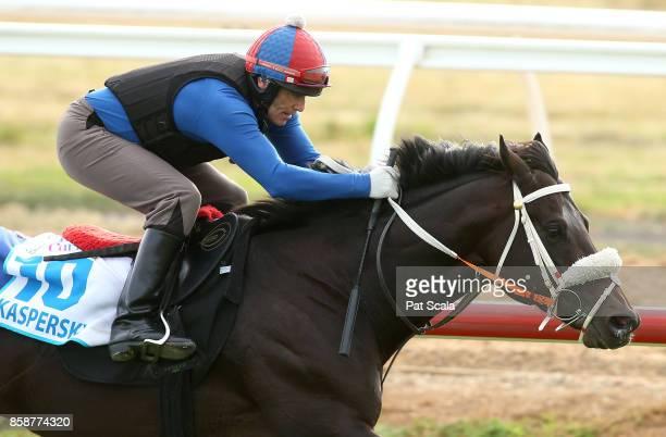 Kaspersky ridden by Joe Berkely during trackwork at Werribee Racecourse on October 08 2017 in Werribee Australia