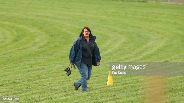 Kaspersky's trainer Jane ChappleHyam this morning at Werribee Racecourse on October 11 2017 in Werribee Australia