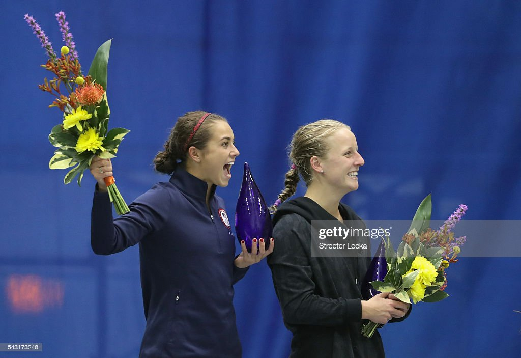<a gi-track='captionPersonalityLinkClicked' href=/galleries/search?phrase=Kassidy+Cook&family=editorial&specificpeople=6935121 ng-click='$event.stopPropagation()'>Kassidy Cook</a> and Abby Johnston celebrate after the Women's 3m Springboard final during day 9 of the 2016 U.S. Olympic Team Trials for diving at Indiana University Natatorium on June 26, 2016 in Indianapolis, Indiana.