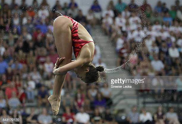 Kassidy Cook competes in the Women's 3m Springboard final during day 9 of the 2016 US Olympic Team Trials for diving at Indiana University Natatorium...