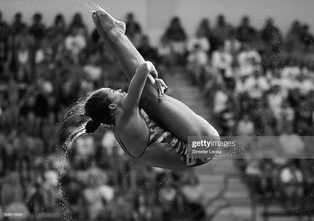 <a gi-track='captionPersonalityLinkClicked' href=/galleries/search?phrase=Kassidy+Cook&family=editorial&specificpeople=6935121 ng-click='$event.stopPropagation()'>Kassidy Cook</a> competes in the Women's 3m Springboard final during day 9 of the 2016 U.S. Olympic Team Trials for diving at Indiana University Natatorium on June 26, 2016 in Indianapolis, Indiana.