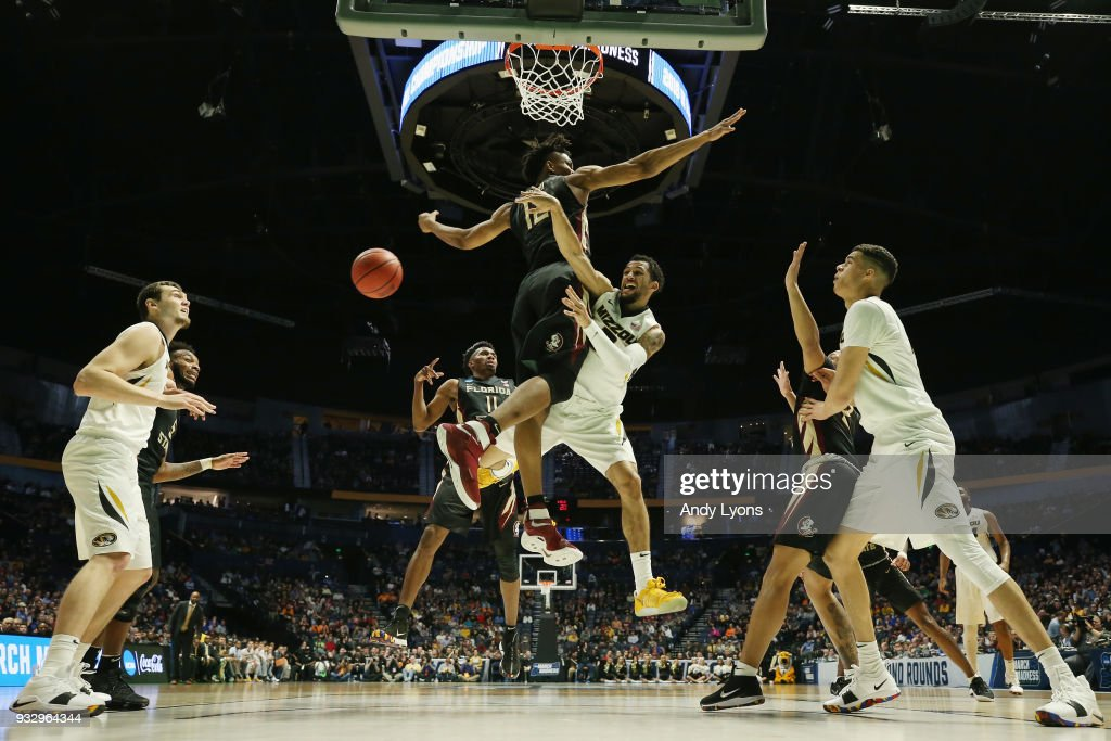 Kassius Robertson #3 of the Missouri Tigers throws a pass against the Florida State Seminoles during the game in the first round of the 2018 NCAA Men's Basketball Tournament at Bridgestone Arena on March 16, 2018 in Nashville, Tennessee.