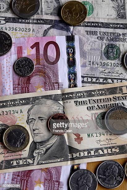KastrupCopenhagenDenamrk _World economy usa dolars vers euros currency on world stage 27 March 2015