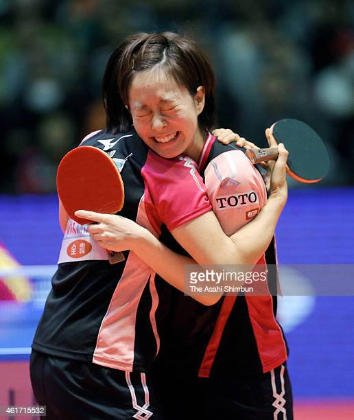 Kasumi Ishikawa and Sayaka Hirano celebrate winning the Women's Doubles during day six of the All Japan Table Tennis Championships 2015 at Tokyo...