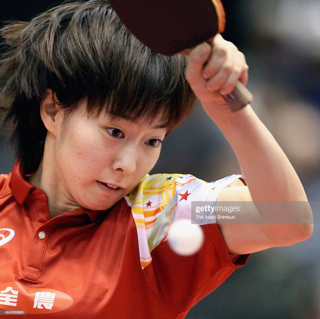 <a gi-track='captionPersonalityLinkClicked' href=/galleries/search?phrase=Kasumi+Ishikawa&family=editorial&specificpeople=4946248 ng-click='$event.stopPropagation()'>Kasumi Ishikawa</a> competes against Sakura Mori at All Japan Table Tennis Championships at Tokyo Gymnasium on January 18, 2014 in Tokyo, Japan.
