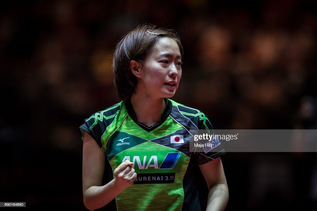 Kasumi Ishikawa of Japan celebrates during women Double 1. Round at Table Tennis World Championship at Messe Duesseldorf on May 30, 2017 in Dusseldorf, Germany.