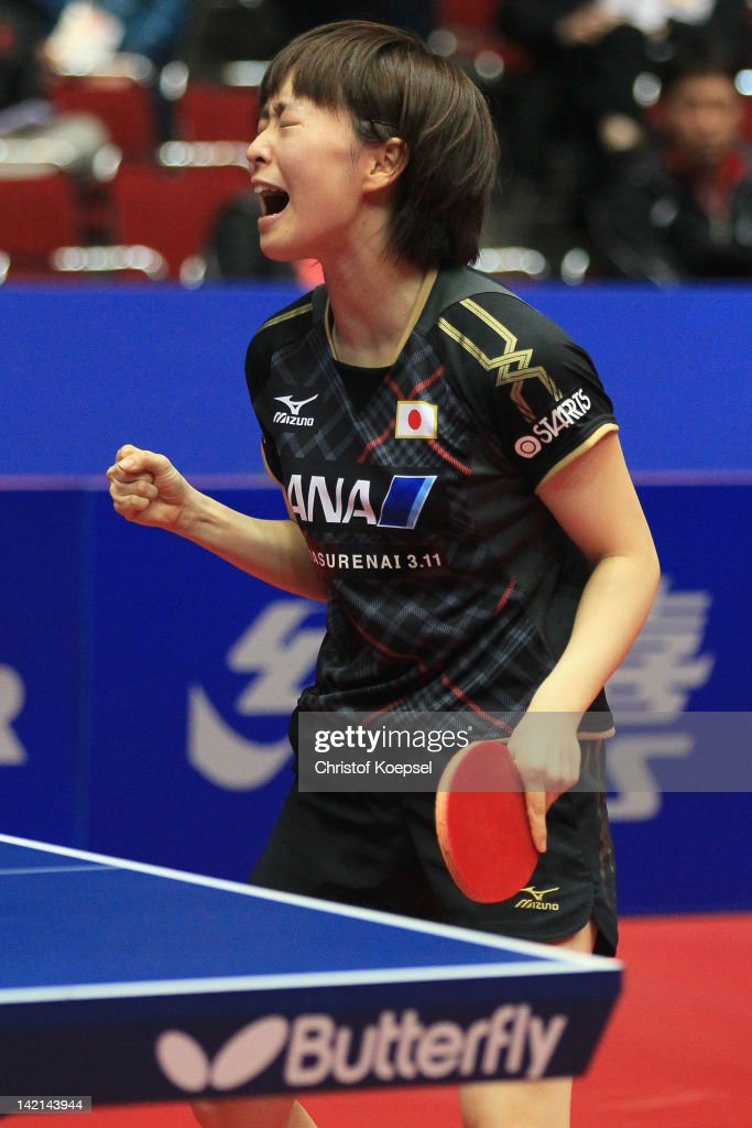 <a gi-track='captionPersonalityLinkClicked' href=/galleries/search?phrase=Kasumi+Ishikawa&family=editorial&specificpeople=4946248 ng-click='$event.stopPropagation()'>Kasumi Ishikawa</a> of Japan celebrates her victory against Seok Ha Jung of South Korea during the LIEBHERR table tennis team world cup 2012 championship division women's quarter final match between Japan and South Korea at Westfalenhalle Dortmund on March 30, 2012 in Dortmund, Germany.