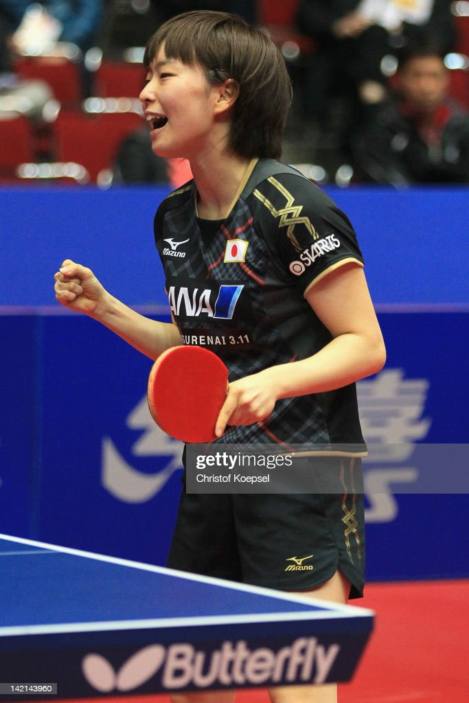 <a gi-track='captionPersonalityLinkClicked' href=/galleries/search?phrase=Kasumi+Ishikawa+-+Table+Tennis+Player&family=editorial&specificpeople=4946248 ng-click='$event.stopPropagation()'>Kasumi Ishikawa</a> of Japan celebrates her victory against Seok Ha Jung of South Korea during the LIEBHERR table tennis team world cup 2012 championship division women's quarter final match between Japan and South Korea at Westfalenhalle Dortmund on March 30, 2012 in Dortmund, Germany.