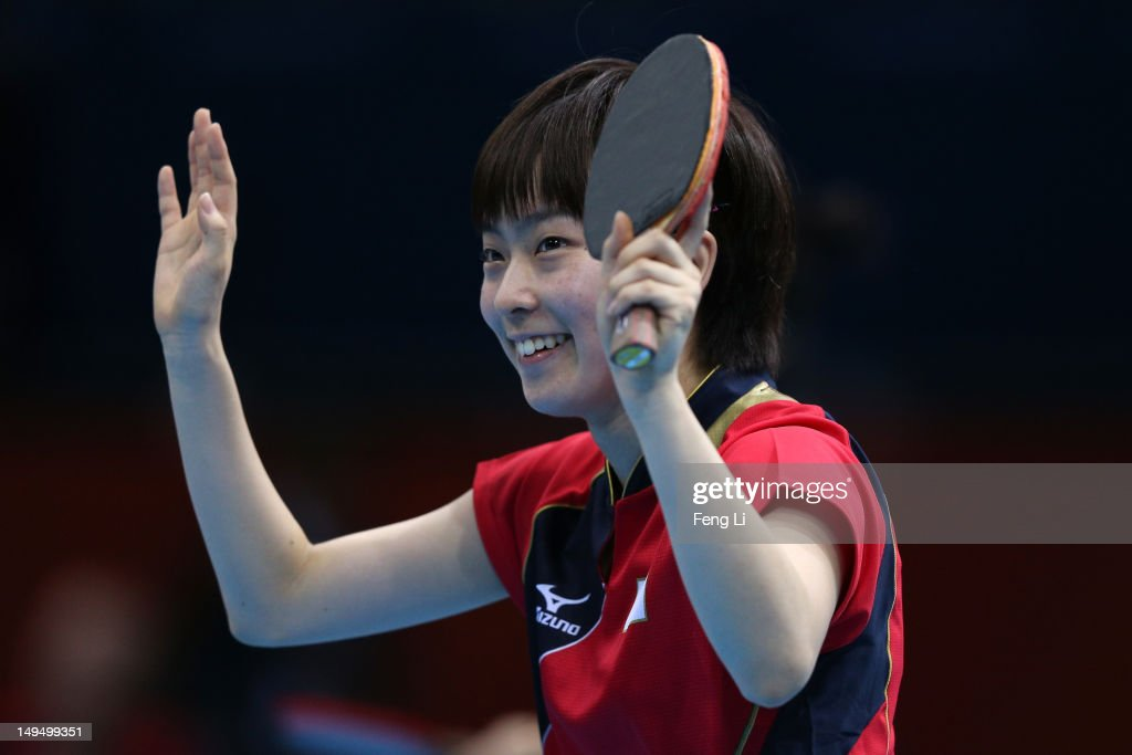 <a gi-track='captionPersonalityLinkClicked' href=/galleries/search?phrase=Kasumi+Ishikawa&family=editorial&specificpeople=4946248 ng-click='$event.stopPropagation()'>Kasumi Ishikawa</a> of Japan celebrates winning her Women's Singles Table Tennis third round match against Li Qiangbing of Austria on Day 2 of the London 2012 Olympic Games at ExCeL on July 29, 2012 in London, England.