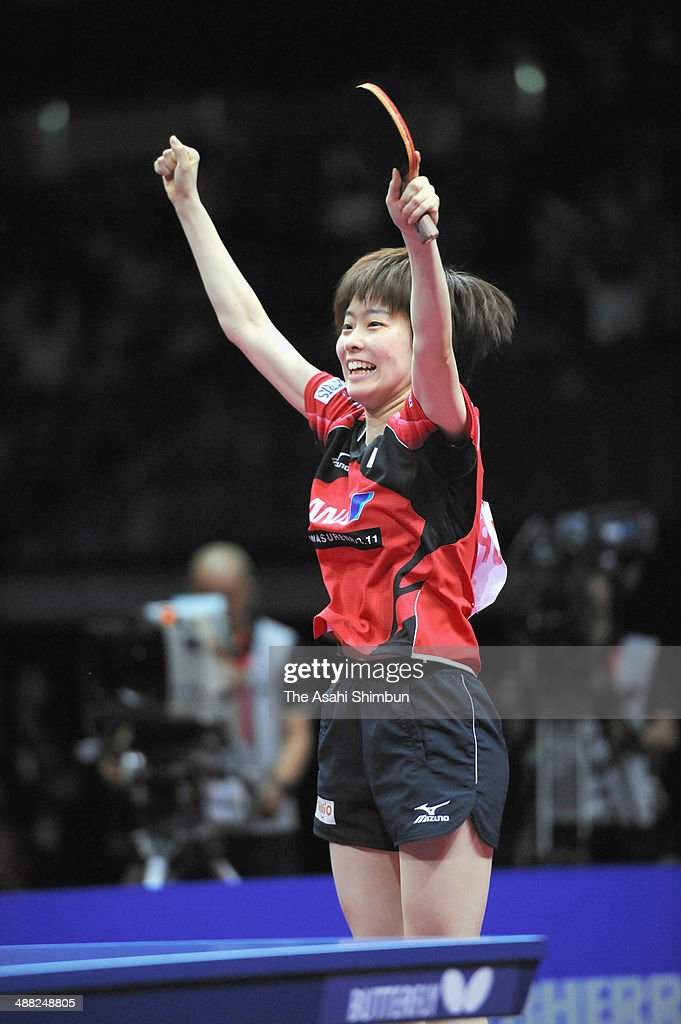 <a gi-track='captionPersonalityLinkClicked' href=/galleries/search?phrase=Kasumi+Ishikawa&family=editorial&specificpeople=4946248 ng-click='$event.stopPropagation()'>Kasumi Ishikawa</a> of Japan celebrates winning the game against Lee Ho Ching of Hong Kong during day seven of the 2014 World Team Table Tennis Championships at Yoyogi National Gymnasium on May 4, 2014 in Tokyo, Japan.