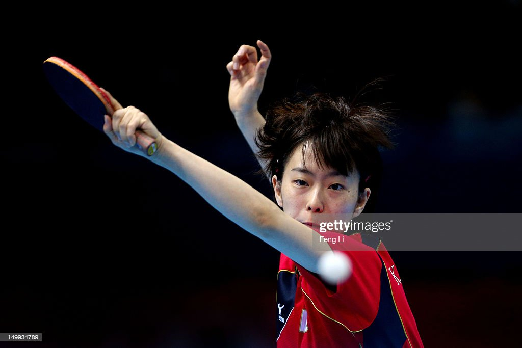 <a gi-track='captionPersonalityLinkClicked' href=/galleries/search?phrase=Kasumi+Ishikawa+-+Table+Tennis+Player&family=editorial&specificpeople=4946248 ng-click='$event.stopPropagation()'>Kasumi Ishikawa</a> of Japan competes against Ning Ding of China during the Women's Team Table Tennis gold medal match on Day 11 of the London 2012 Olympic Games at ExCeL on August 7, 2012 in London, England.