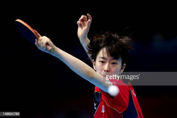 Kasumi Ishikawa of Japan competes against Ning Ding of China during the Women's Team Table Tennis gold medal match on Day 11 of the London 2012...