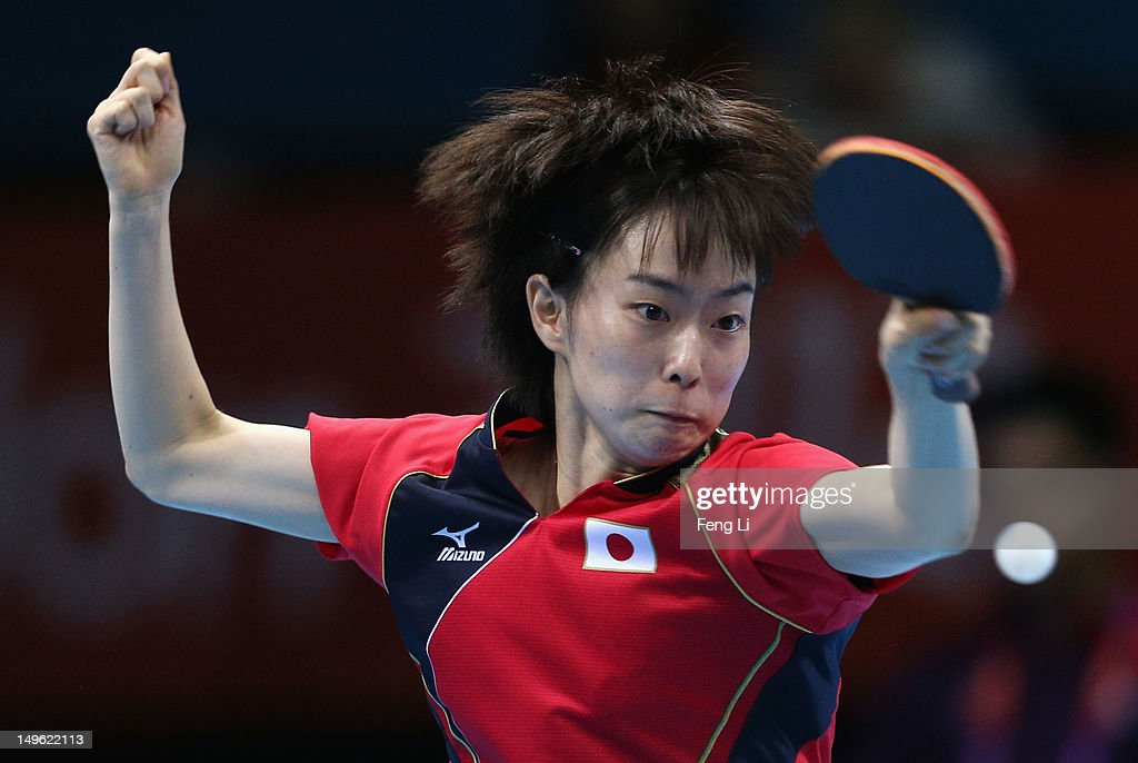 <a gi-track='captionPersonalityLinkClicked' href=/galleries/search?phrase=Kasumi+Ishikawa&family=editorial&specificpeople=4946248 ng-click='$event.stopPropagation()'>Kasumi Ishikawa</a> of Japan competes during her Women's Singles Table Tennis Bronze Medal match against Tianwei Feng of Singapore on Day 5 of the London 2012 Olympic Games at ExCeL on August 1, 2012 in London, England.
