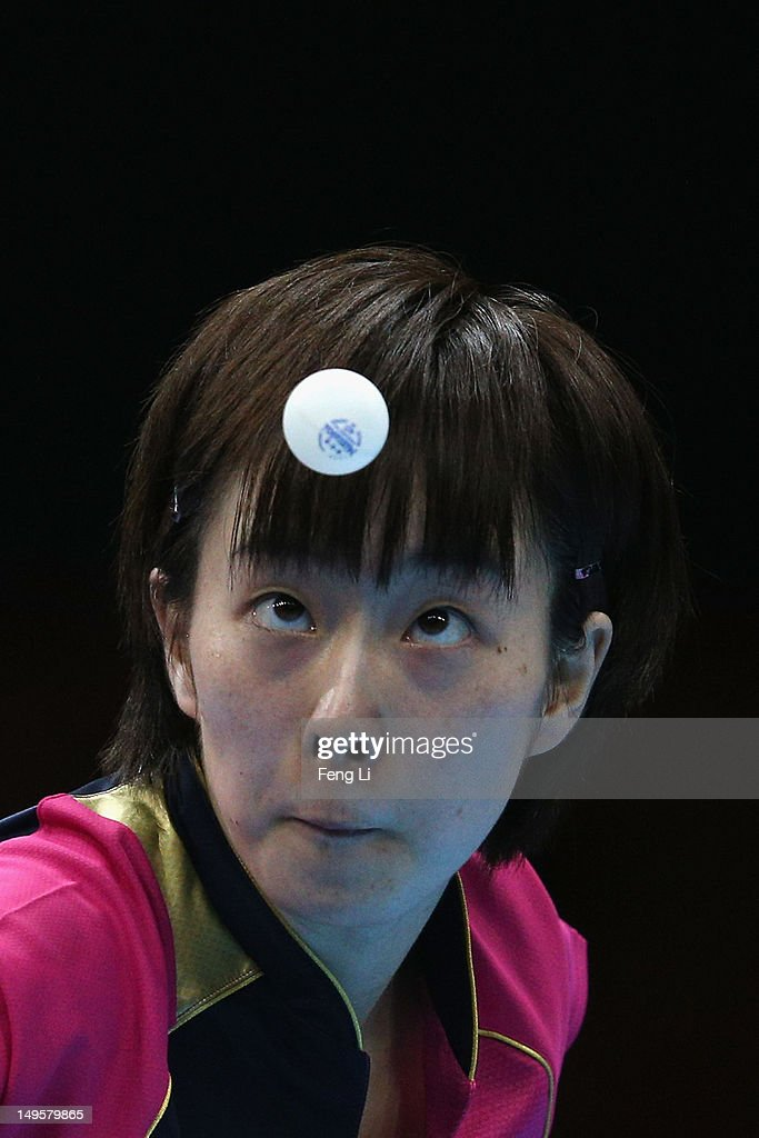<a gi-track='captionPersonalityLinkClicked' href=/galleries/search?phrase=Kasumi+Ishikawa&family=editorial&specificpeople=4946248 ng-click='$event.stopPropagation()'>Kasumi Ishikawa</a> of Japan competes during the Women's Singles Table Tennis match against Xiaoxia Li of China on on Day 4 of the London 2012 Olympic Games at ExCeL on July 31, 2012 in London, England.