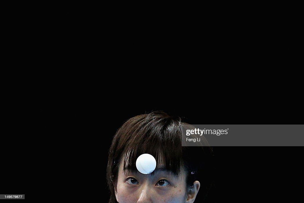 Kasumi Ishikawa of Japan competes during the Women's Singles Table Tennis match against Xiaoxia Li of China on on Day 4 of the London 2012 Olympic Games at ExCeL on July 31, 2012 in London, England.
