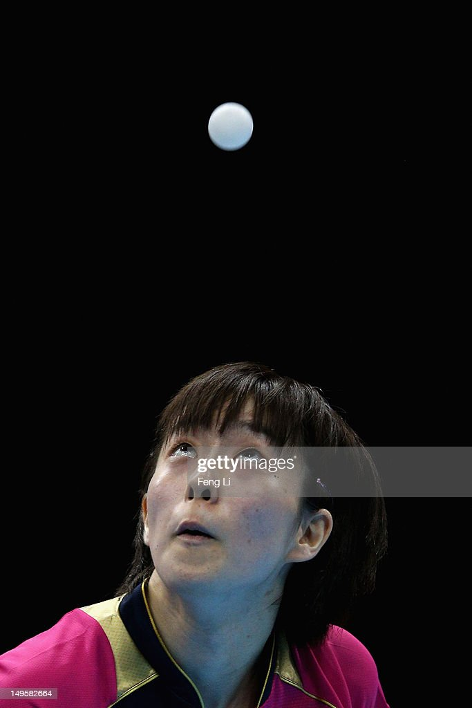<a gi-track='captionPersonalityLinkClicked' href=/galleries/search?phrase=Kasumi+Ishikawa+-+Table+Tennis+Player&family=editorial&specificpeople=4946248 ng-click='$event.stopPropagation()'>Kasumi Ishikawa</a> of Japan competes during the Women's Singles Table Tennis match against Xiaoxia Li of China on on Day 4 of the London 2012 Olympic Games at ExCeL on July 31, 2012 in London, England.