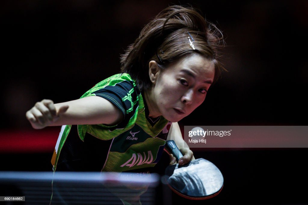 Kasumi Ishikawa of Japan competes during women Double 1. Round at Table Tennis World Championship at Messe Duesseldorf on May 30, 2017 in Dusseldorf, Germany.