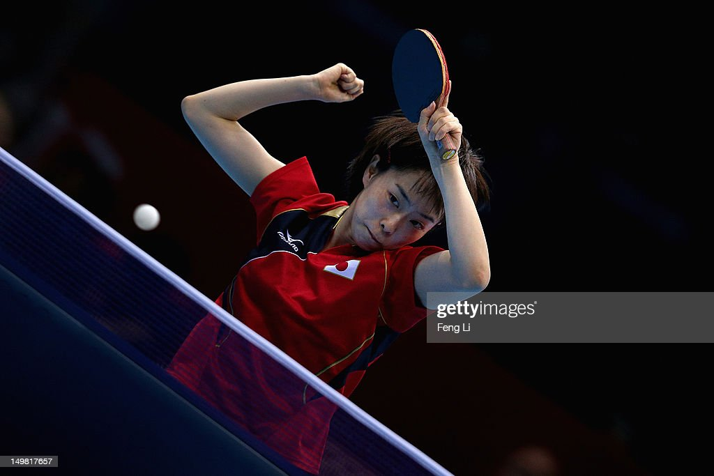 <a gi-track='captionPersonalityLinkClicked' href=/galleries/search?phrase=Kasumi+Ishikawa&family=editorial&specificpeople=4946248 ng-click='$event.stopPropagation()'>Kasumi Ishikawa</a> of Japan competes during Women's Team Table Tennis quarterfinal match against team of Germany on Day 8 of the London 2012 Olympic Games at ExCeL on August 4, 2012 in London, England.