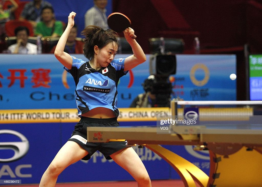 <a gi-track='captionPersonalityLinkClicked' href=/galleries/search?phrase=Kasumi+Ishikawa&family=editorial&specificpeople=4946248 ng-click='$event.stopPropagation()'>Kasumi Ishikawa</a> of Japan competes in her Women's Singles quarter-final match against Li Xiaoxia of China on day four of 2014 ITTF World Tour China Open at Sichuan Provincial Stadium on June 7, 2014 in Chengdu, Sichuan Province of China.