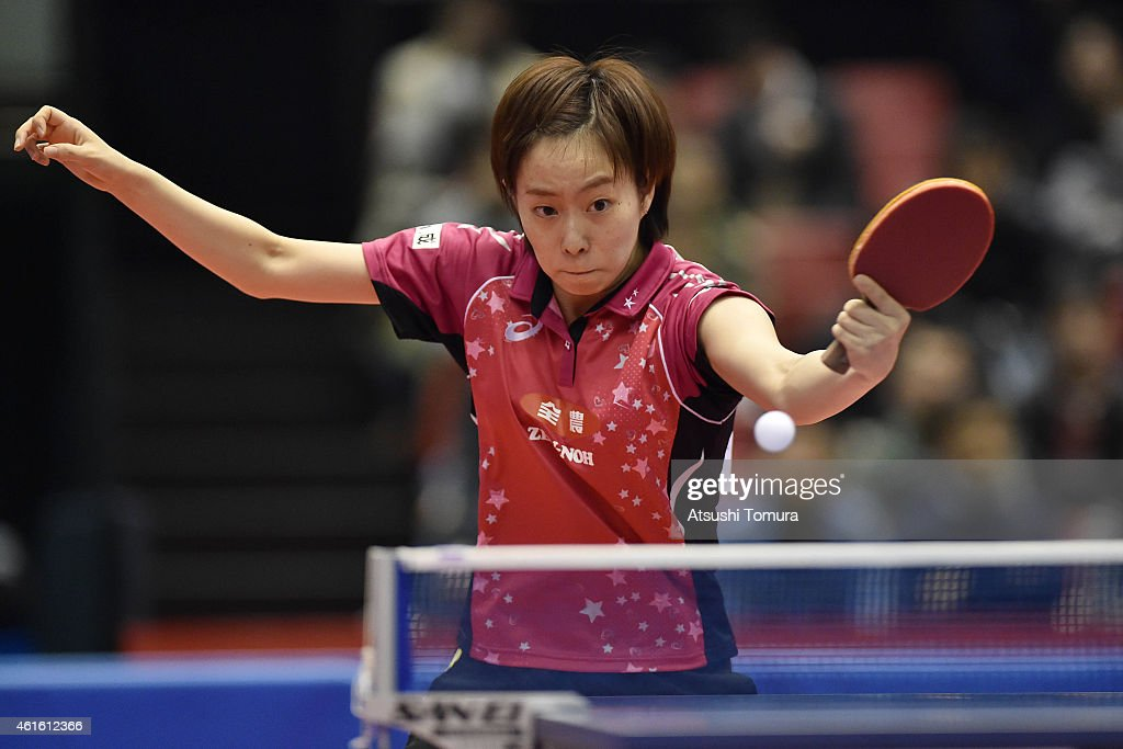 <a gi-track='captionPersonalityLinkClicked' href=/galleries/search?phrase=Kasumi+Ishikawa&family=editorial&specificpeople=4946248 ng-click='$event.stopPropagation()'>Kasumi Ishikawa</a> of Japan competes in the Women's Singles during day five of All Japan Table Tennis Championships 2015 at Tokyo Metropolitan Gymnasium on January 16, 2015 in Tokyo, Japan.
