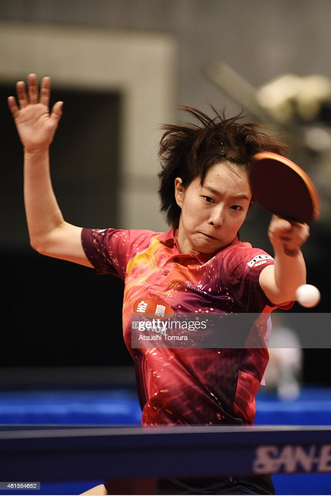 <a gi-track='captionPersonalityLinkClicked' href=/galleries/search?phrase=Kasumi+Ishikawa&family=editorial&specificpeople=4946248 ng-click='$event.stopPropagation()'>Kasumi Ishikawa</a> of Japan competes in the Women's Singles during the day four of All Japan Table Tennis Championships 2015 at Tokyo Metropolitan Gymnasium on January 15, 2015 in Tokyo, Japan.