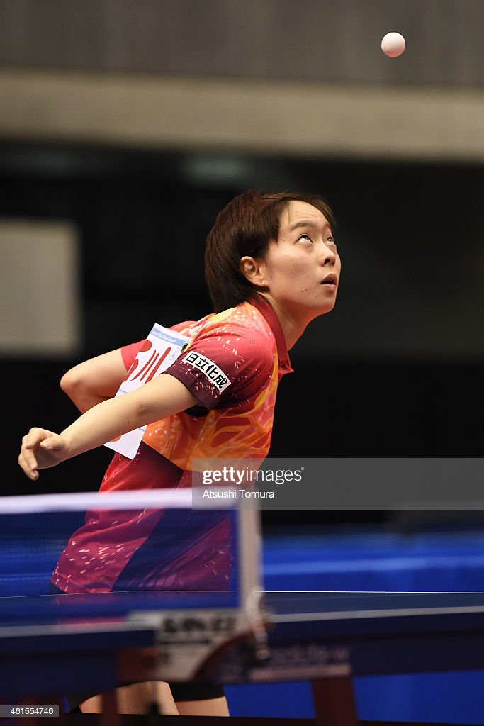 Kasumi Ishikawa of Japan competes in the Women's Singles during the day four of All Japan Table Tennis Championships 2015 at Tokyo Metropolitan Gymnasium on January 15, 2015 in Tokyo, Japan.