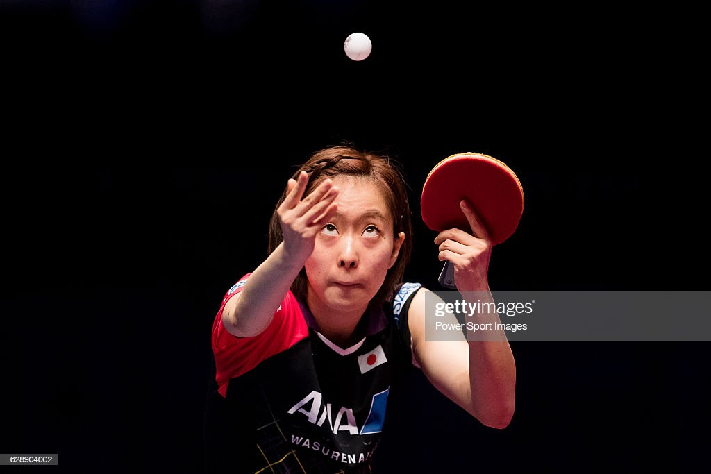 Kasumi Ishikawa of Japan in action against Yang Haeun of South Korea at their Women's Singles Quarter Final match during the Seamaster Qatar 2016 ITTF World Tour Grand Finals at the Ali Bin Hamad Al Attiya Arena on 10 December 2016, in Doha, Qatar.