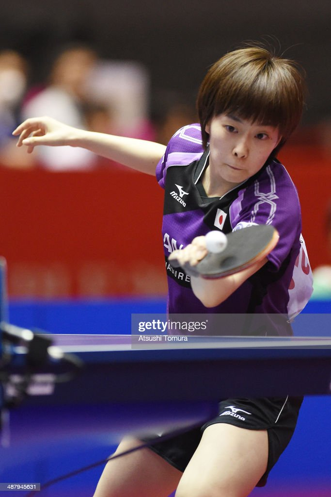<a gi-track='captionPersonalityLinkClicked' href=/galleries/search?phrase=Kasumi+Ishikawa&family=editorial&specificpeople=4946248 ng-click='$event.stopPropagation()'>Kasumi Ishikawa</a> of Japan plays a forehand against Jiao Li of Netherlands during day six of the 2014 World Team Table Tennis Championships at Yoyogi National Gymnasium on May 3, 2014 in Tokyo, Japan.