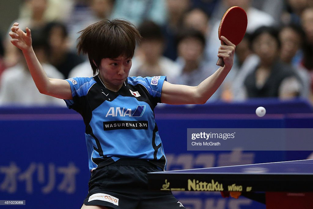 <a gi-track='captionPersonalityLinkClicked' href=/galleries/search?phrase=Kasumi+Ishikawa&family=editorial&specificpeople=4946248 ng-click='$event.stopPropagation()'>Kasumi Ishikawa</a> of Japan returns a shot against Feng Tianwei of Singapore during the Women's Singles Final on day three of 2014 ITTF World Tour Japan Open at Yokohama Cultural Gymnasium on June 22, 2014 in Yokohama, Japan.