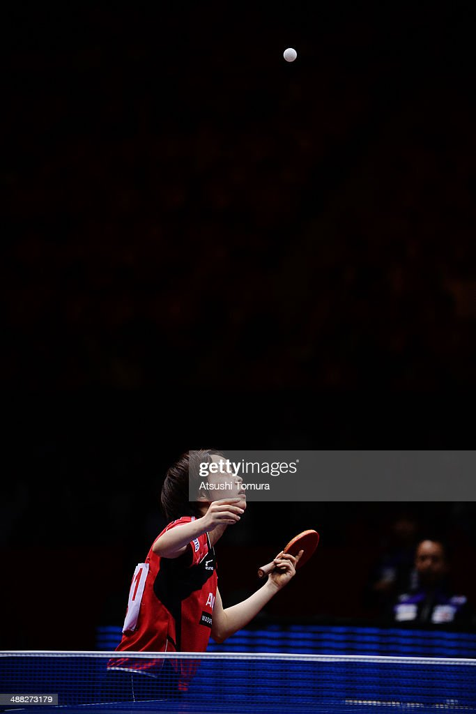 <a gi-track='captionPersonalityLinkClicked' href=/galleries/search?phrase=Kasumi+Ishikawa&family=editorial&specificpeople=4946248 ng-click='$event.stopPropagation()'>Kasumi Ishikawa</a> of Japan serves against Xiaoxia Li of China during day eight of the 2014 World Team Table Tennis Championships at Yoyogi National Gymnasium on May 5, 2014 in Tokyo, Japan.