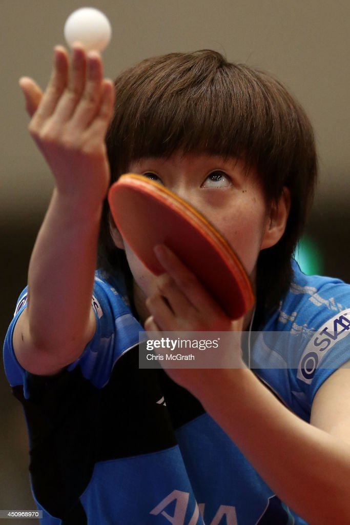 Kasumi Ishikawa of Japan serves against Yu Fu of Portugal during their Women's Singles match on day two of 2014 ITTF World Tour Japan Open at Yokohama Cultural Gymnasium on June 21, 2014 in Yokohama, Japan.