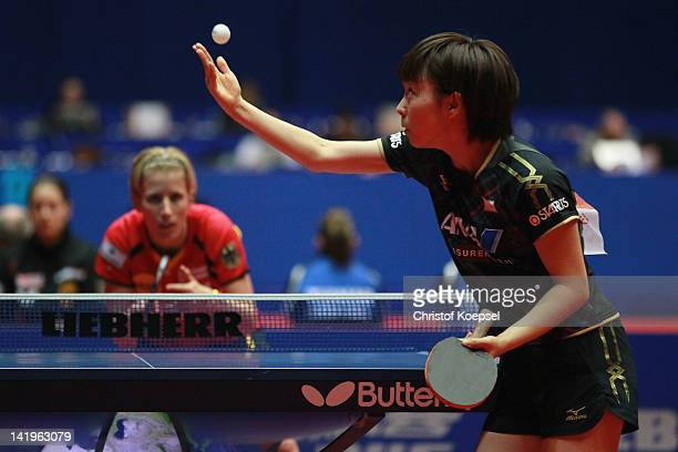 Kasumi Ishikawa of Japan serves during her match against Kristin Silbereisen of Germany during the LIEBHERR table tennis team world cup 2012...