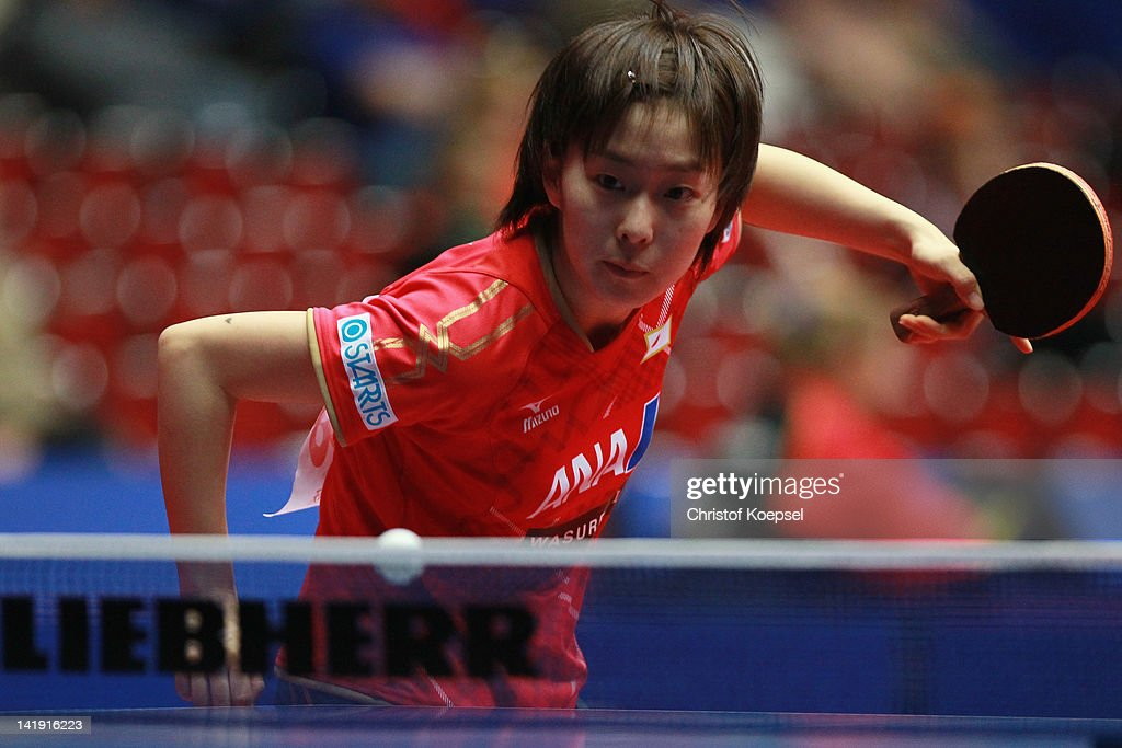 <a gi-track='captionPersonalityLinkClicked' href=/galleries/search?phrase=Kasumi+Ishikawa+-+Table+Tennis+Player&family=editorial&specificpeople=4946248 ng-click='$event.stopPropagation()'>Kasumi Ishikawa</a> of Japan serves during her match against Natalia Partyka of Poland during the LIEBHERR table tennis team world cup 2012 championship division group C women's team match between Japan and Poland at Westfalenhalle Dortmund on March 26, 2012 in Dortmund, Germany. Japan won 3-0 against Poland.
