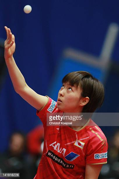 Kasumi Ishikawa of Japan serves during her match against Natalia Partyka of Poland during the LIEBHERR table tennis team world cup 2012 championship...