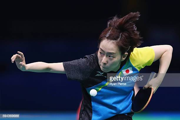 Kasumi Ishikawa of Japan serves during the Table Tennis Women's Team Round Quarter Final between Japan and Austria during the Table Tennis Men's Team...