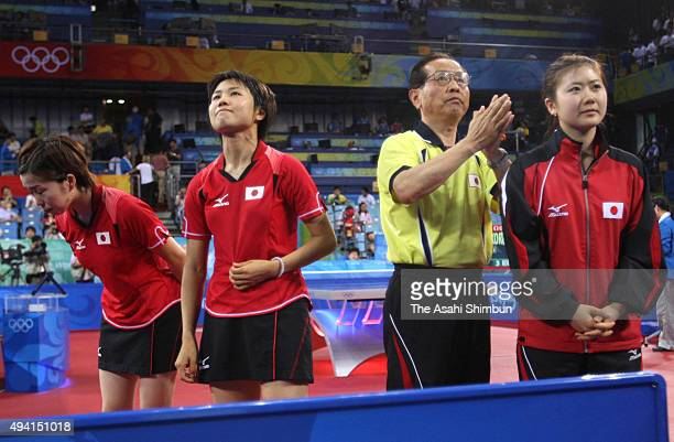Kasumi Ishikawa Sayaka Hirano and Ai Fukuhara of Japan bow to the supporters after their defeat in the Table Tennis Women's Team bronze medal match...