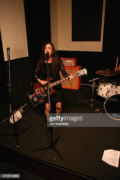 Kat Bjelland of the rock band Babes in Toyland rehearses for their tour at Amp Rehearsal in N Hollywood California on November 16 2014