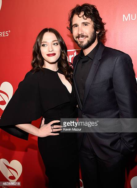 Kat Dennings and Josh Groban attend the 25th anniversary MusiCares 2015 Person Of The Year Gala honoring Bob Dylan at the Los Angeles Convention...
